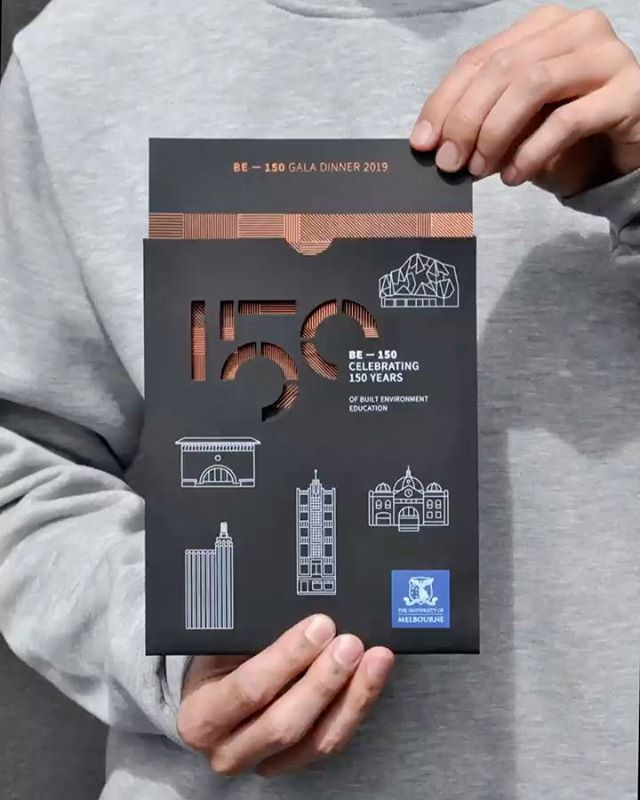 Gala invitation for BE - 150 Gala Dinner at NGV, celebrating 150 years of built environment education at the University of Melbourne. Thanks for the flashy foil @bambra.bebold @msdsocial